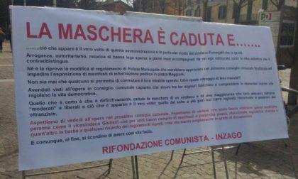A Inzago stop a manifesti, cartelli e striscioni in piazza