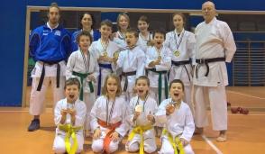 Sette campioni regionali col kimono dell'Asd Karate Trezzo