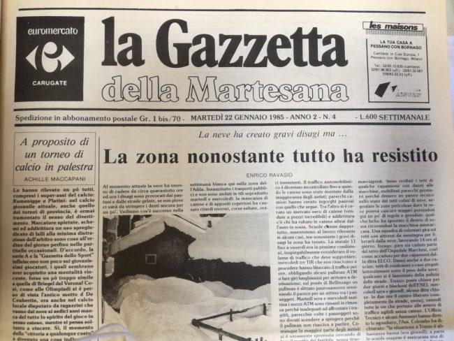 Grande nevicata Gazzetta della martesana 15 gennaio 1985