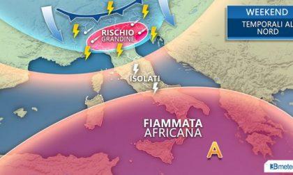 Meteo weekend, temporali al Nord e 40 gradi al Sud