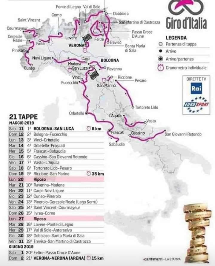 Il Giro d'Italia 2019 torna a Como e taglia il traguardo a Verona