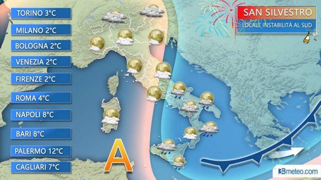 Maltempo, il vento dai Balcani gelerà San Silvestro e Capodanno