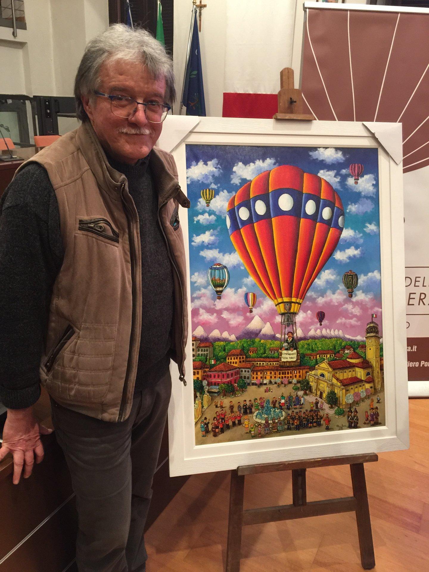 Brugherio 235esimo anniversario primo volo in mongolfiera svelato il dipinto dell'artista Elio Nava