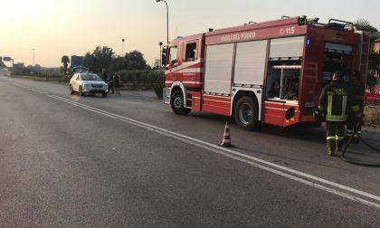 Motociclista cade sulla Paullese, intervengono elisoccorso e pompieri FOTO