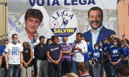 Salvini in piazza a Cologno per tirare la volata finale al sindaco Rocchi, bagno di folla