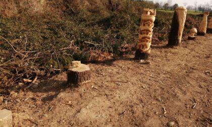 Rubate tre sculture lignee lungo la Provinciale che collega Vaprio a Cassano d'Adda