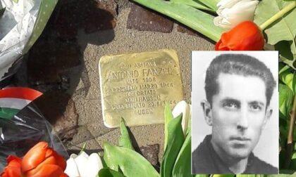 Una pietra d'inciampo davanti alla casa di Antonio Fanzel, ucciso in campo di concentramento