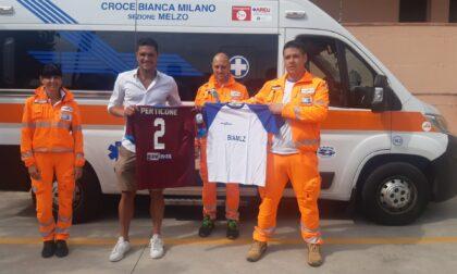 Il calciatore Romano Perticone visita la Croce Bianca Melzo