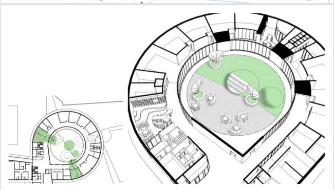 Aule e cortile della nuova scuola media