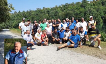 Pescatori sull'Adda in ricordo di un amico scomparso